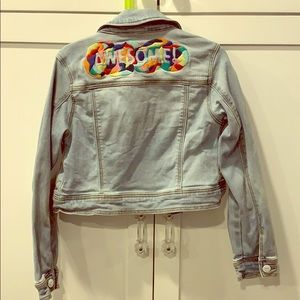 """""""Awesome"""" Cropped Jean Jacket"""